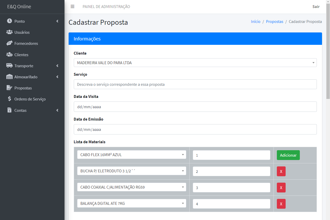 The screen where the user can calculate the total of a proposal - part 01.